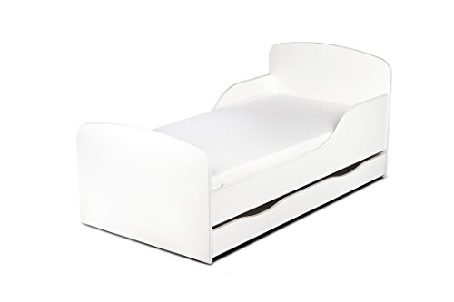 Leomark Einzelbett aus Holz - White - Kinderbett mit Schubladen für Bettwäsche, Holzbett mit Matratze + Lattenrost, Komplett Set, Liegefläche 70/140 cm
