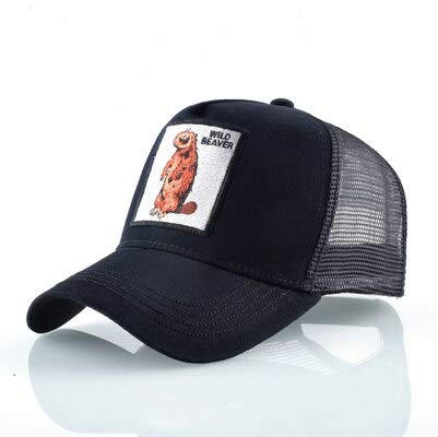 Gorras de algodón Unisex para Hombres Gorra de béisbol Gorras de Camionero de Malla Transpirable para Mujer-Beaver BK