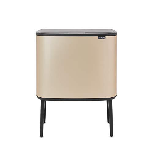 Cubo de Basura de Reciclaje Bo Touch, Acero, Champán, 11 + 23L