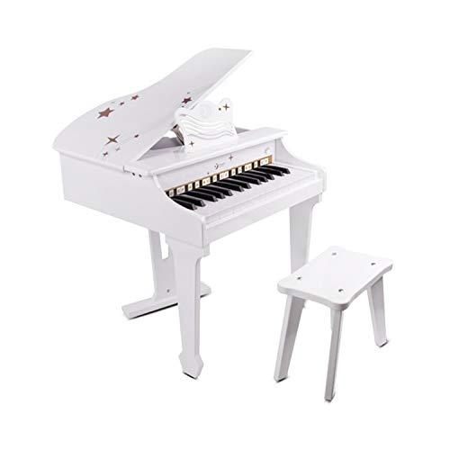 Classic World 30 teclas Mini piano de cola blanco con taburete para niños | Instrumentos musicales para niños pequeños