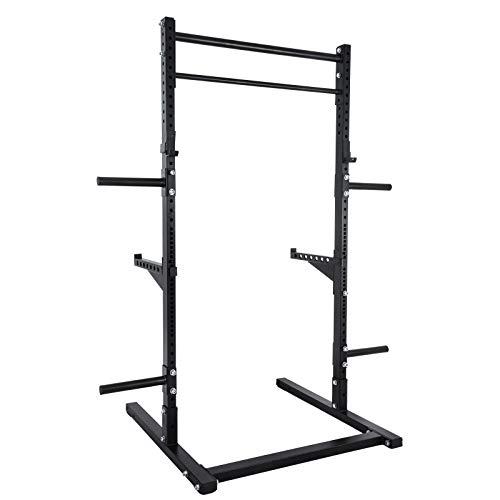 VEVOR Support de Squat Capacité Poids 150kg / 330lb Pull Up de Musculation Cage de Squat Rack Squat Station d'entraînement Barre de Traction Traction d'immersion Rack Squat Pull up