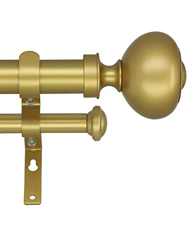 """eTeckram 1"""" Double Curtain Rod with Urm Finials - 48''to 84'', Golden"""