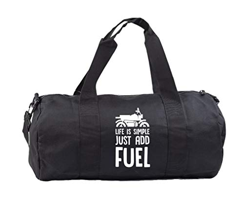 Hippowarehouse Life is simple just add fuel motorcycle Gymwear Gym Duffle Cylinder Uniform Kit Bag 50 x 25 x 25cm 20 litres