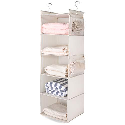 MAX Houser 5 Shelf Hanging Closet Organizer, Space Saver, Cloth Hanging Shelves with 4 Side Pockets, Foldable, Beige