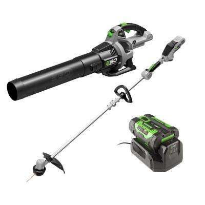 EGO Power+ 110 MPH 530 CFM 56V Lith-Ion Cordless Blower and 15 in. String Trimmer Rapid Reload Head with Battery and Charger