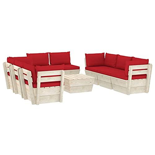 Tendia Muebles de Jardín de Palets 9 Piezas y Cojines Madera de Abeto