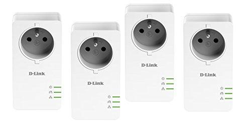 D-Link DHP-P601AVx2 CPL 1000 mbps, Kit de 4 Adaptateurs HomePlug AV2 1000 HD prise intégrée- Idéal pour profiter du service Multi-TV à la maison