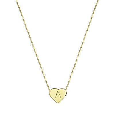 Tewiky Tiny Initial Name Heart Necklace Letter Alphabet 18k Gold Plated Dainty Necklace for Boy's Bracelet Women Girls Kids