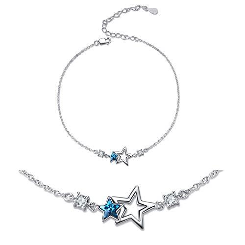 Anklet Sterling Silver Swarovski Crystal Star Ankle Bracelets Star Beach Link Chain Anklets
