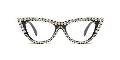 Vintage Retro Women Cateye Sunglasses Crystal Trim Jeweled Frame Costume Glasses (Black Frame Clear Lenses, 65)