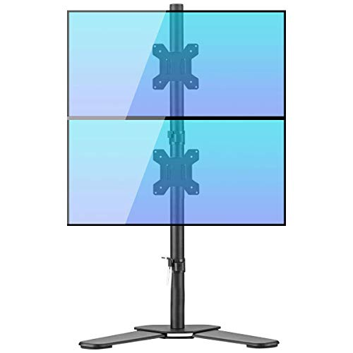 Bracwiser Dual Vertical Fully Adjustable Monitor Arm Stand Mount Fits Two Screen 13-27 inch 22lbs for Monitor Computer Screen 13 15 17 19 20 22 23 24 26 27 inch VESA 75 100 (ML7802)