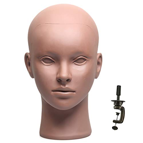 Makeup Mannequin Head for Practice, Bald Mannequin Head for Making Wigs, Afro American Mannequin Head for Eyelash Extensions with Stand