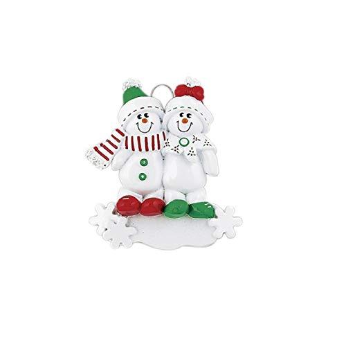 Kerstboomdecoratie familie met slee, personaliseerbaar, voor gezinnen van 2 tot 5 personen.