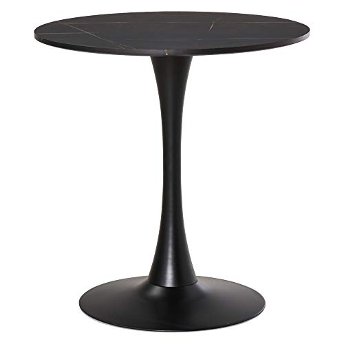 HOMCOM Modern Round Dining Table Leisure Coffee Bistro Table with Metal Base for Kitchen & Dining Room Black