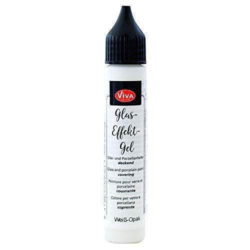 Viva Decor - Stylo gel sur verre (Blanc opaque, 28 ml) Stylo gel sur verre - stylo porcelaine - peinture verre - peinture céramique - couleur transparente ou opaque - Imperméable/résiste au lave vaisselle