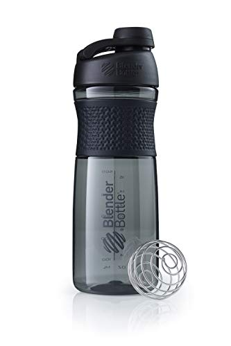 BlenderBottle Sportmixer Twist Tritan Shaker, eiwitshaker, waterfles, fitness shaker, BPA-vrij, met blenderbal 590 ml zwart/zwart