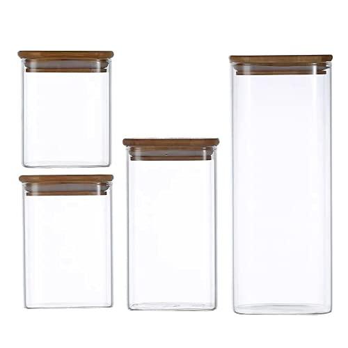 Tarro de Vidrio de Almacenamiento 4Pcs, Tarros de Cristal para Conservas Envases Cristal Alimentos, Tarro de Granos de Café Recipiente Hermetico Tarros de Cristal con Tapa