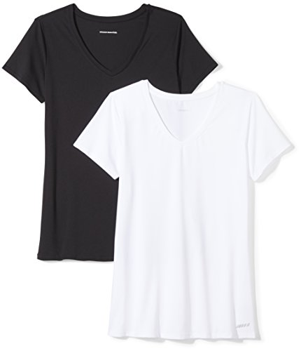 Amazon Essentials 2-Pack Tech Stretch Short-Sleeve V-Neck T-Shirt Athletic-Shirts, Negro/Blanco, US XL (EU 2XL)