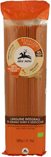Pasta (sémola con lentejas rojas) espagueti BIO 500 g - ALCE NERO
