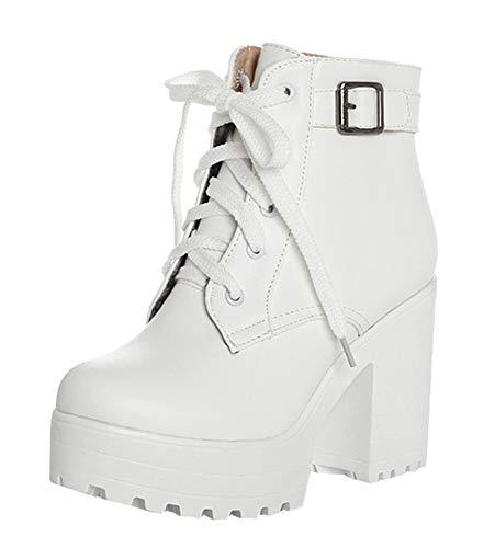 High Heels Stiefeletten Plateau Blockabsatz Ankle Boots mit Schnürung(Weiß,38)