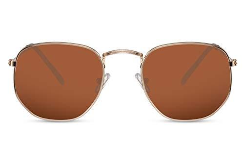 Cheapass Sonnenbrille Hexagonal Gold-en Braun UV-400 Groß Rund Metall Damen Herren