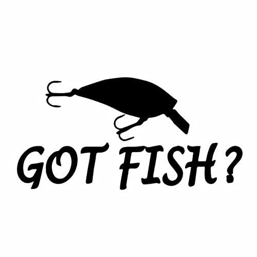 A/X 16,4 CM * 8,2 CM Got Fish Coche Pegatina Crankbait Pesca bajo Barco Red Carrete calcomanía Vinilo Negro/Plata C24-0913Negro