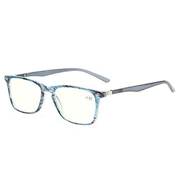 Computer Reading Glasses Blue Light Blocking Readers Men and Women Glasses of Reading  Blue Stripe 0.75