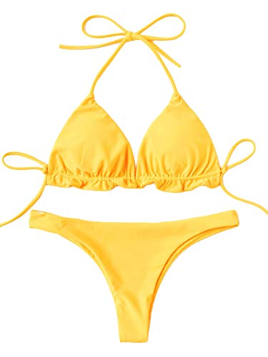 SweatyRocks Women's Solid Color Bathing Suits Halter Triangle Bikini Top Thong Swimsuits Yellow Small
