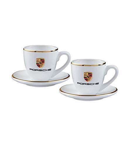 Original Porsche Espressotassen Set mit Wappen und Goldrand - WAP0505950H