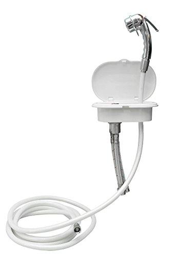 Osculati Kunststoff Brausearmatur, verchromt, mit 4 m PVC Schlauch, Wassermischbatterie und Luran Einbaukasten mit weißer Klappe