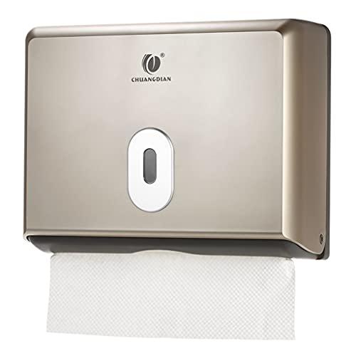 ZSP Dispensador de Tejidos, sin Taladro, dispensador de Toallas de Mano Plegado de Pared de Pared para baño de baño y Cocina. (Color : Gold)