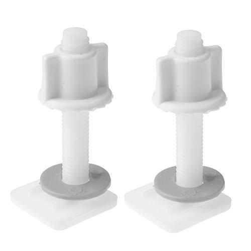 DDU Vis de Boulon Charnière Abattants WC Accessoires 2.7cm × 6.2cm Boulons Fixation Inférieure des Charnières Durable Plastique Blanc