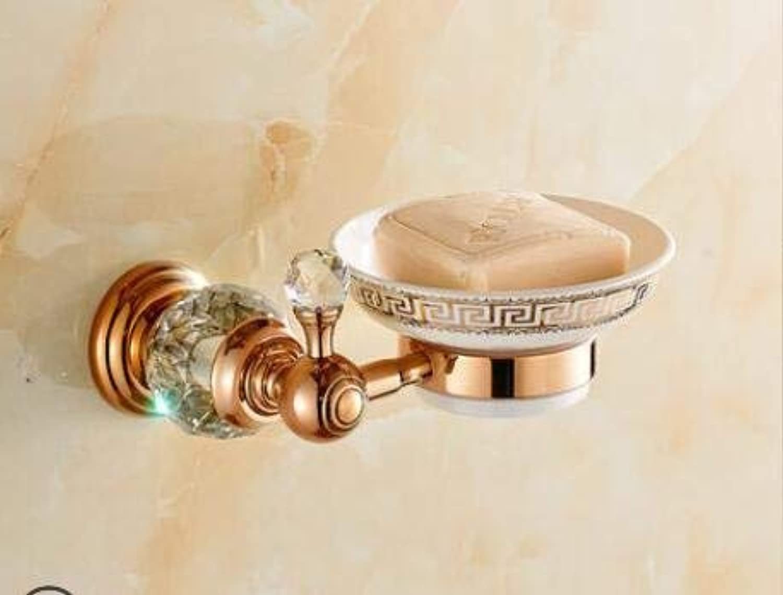 Elegant Towel Stand Brass & Diamond Bathroom Accessories Set, pink gold Toilet Brush Holder, Paper Holder, Towel Bar, Towel Rack Bathroom Hardware Set, Soap Basket (color   Soap Dish)