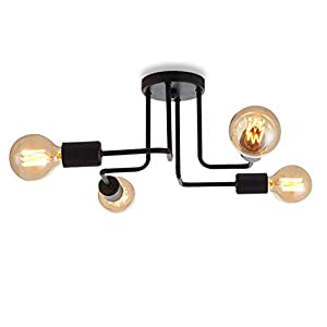 Vintage Ceiling Light, Modern Retro 4 Lights Chandelier Black Semi-Flush Mount Ceiling Lamp for Living Room Bedroom and Dining Room