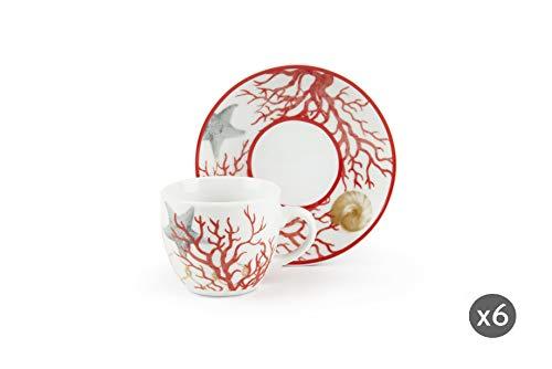 Excelsa Coral Set koffiekopjes met schotel, meerkleurig