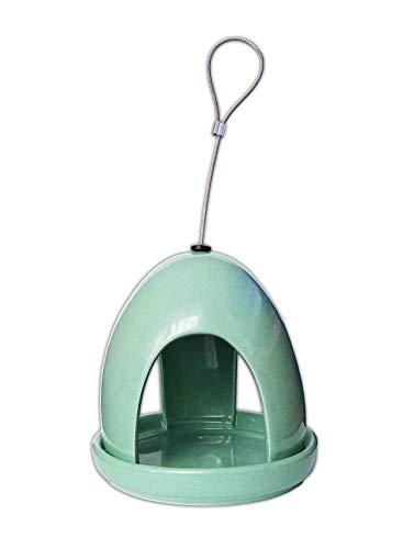 Deco VOGELHAUS aus Keramik Grün Vogelfutterhaus Vogelfutterstation Vögel Futterhaus 19