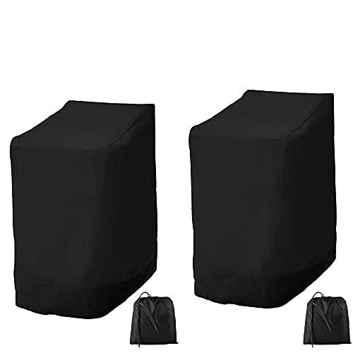 Gartenstühle Schutzhülle, 114*85*65cm, 210D Oxford, Stapelstühle Abdeckung Wasserdicht, Winddicht, UV-Beständig, Abdeckung für Stapelstühle, Schutzhülle für Gartenstuhl (2 Stück)