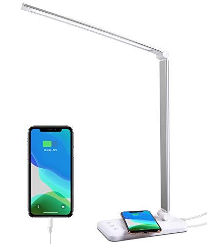 Lámpara Escritorio LED, Flexo Escritorio LED con carga Inalámbrica, Lámpara de Oficina con 3 Modos y 10 Niveles de Brillo, Función de Memoria, Lámpara de mesa para Leer, Estudiar