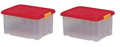 ARTECSIS 2 x Aufbewahrungsboxen aus Plastik, 40 x 29 x 21 cm, mit Deckel, Eurobox, stapelbar, 15L (2, M)