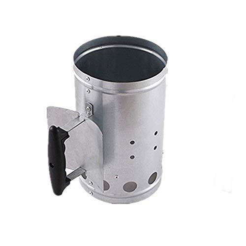 Motorino di avviamento per carbone, lamiera zincata portatile addensare manico resistente al calore Accendino a rapida accensione, per griglie Cottura esterna Campeggio Caminetto Attrezzo per canna