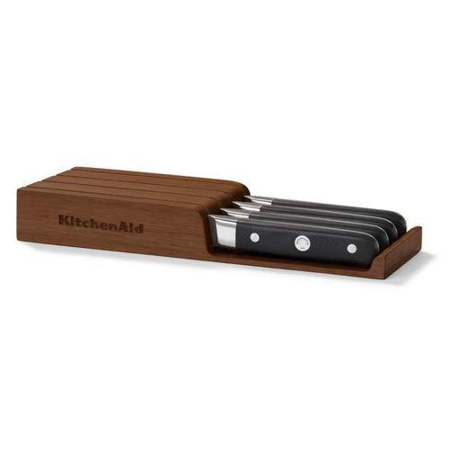 Kitchenaid set van 4 steakmessen + houten kist/lade-inzetstuk, roestvrij staal, zilver/zwart, 25 x 20 x 5 cm, 4-delig