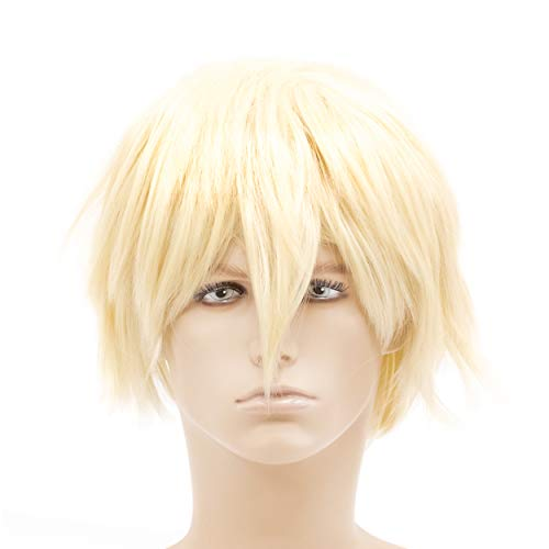 OneDor 12 Inch Short Straight Men Hair Wig Colored Cosplay Wig Heat Friendly Party Costume Unisex Wig (613#-Pre Bleach Blonde)