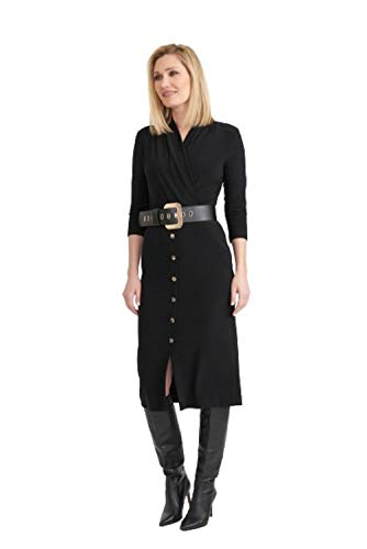 Joseph Ribkoff Black & Accent Buckle Dress Style 203202 - Fall 2020 Collection (18)