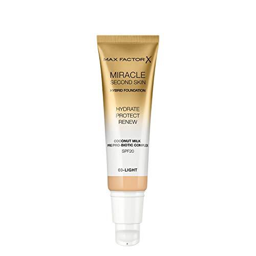 Max Factor Miracle Second Skin Fondotinta dal Finish Naturale, con Latte di Cocco Idratante e SPF 20, 03 Light