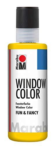 Marabu 04060004019 - Window Color fun & fancy, gelb 80 ml, Fensterfarbe auf Wasserbasis, ablösbar auf glatten Flächen wie Glas, Spiegel, Fliesen und Folie