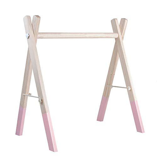 RUBY Palestrina Neonato Legno Montessori,Palestra Bambini Legno,Baby Gym Palestra Neonato Multifunzione Per Bambino(Rosa Pastello-gym)