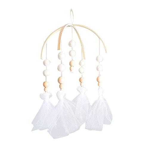 LPxdywlk Nordischen Stil Holzperlen Windspiele Dekorative Anhänger Krippe Kinderzimmer Hängende Dekoration Weiß