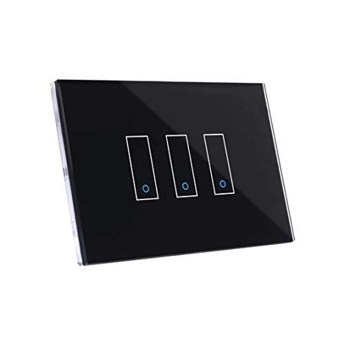 Iotty I3 Interruttore Intelligente wifi Smart per luci e cancelli, nero, compatibile con Google, Alexa, Siri e IFTTT, Controllo Remoto da App IOS e Android, placca touch in vetro retroilluminato.