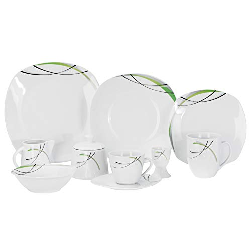 Van Well Kombiservice Donna 50tlg. - weißes Porzellan mit Linien- Dekor in schwarz, grau und grün - für 6 Personen