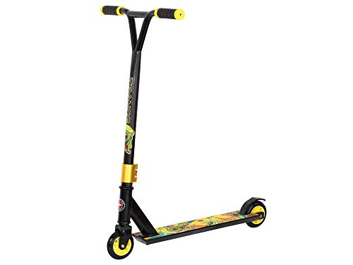 Schwinn Trance Youth Kids Unisex Freestyle Stunt Scooter, High Impact PU Wheels, Bike-Style Grips, Lightweight Alloy Deck, Black & Yellow With Monster Design (Age 8+)